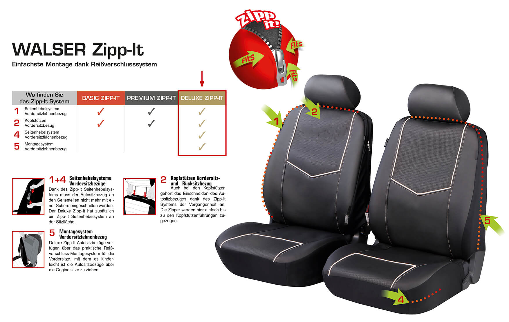 zipp it deluxe medway auto sitzbez ge aus kunstleder f r. Black Bedroom Furniture Sets. Home Design Ideas
