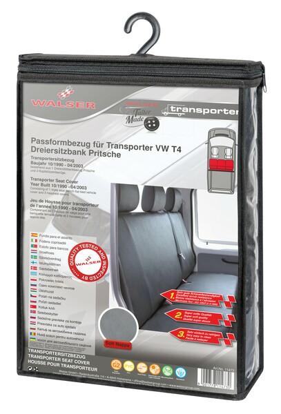 Sitzbezüge für VW T4 3er Bank Pritsche hinten aus Kunstleder für Baujahr 10/1998 - 03/2003