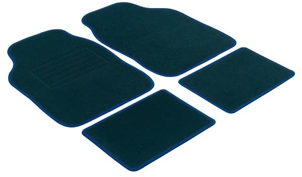 Autoteppich Velours 4tlg universal schwarz/ blau gekettelt