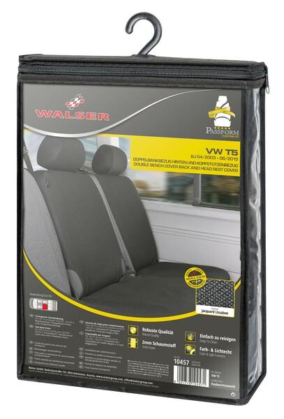 Sitzbezüge für VW T5 Doppelbank hinten aus strapazierfähigem Polyester passend ab Baujahr 04/2003 - 06/2015