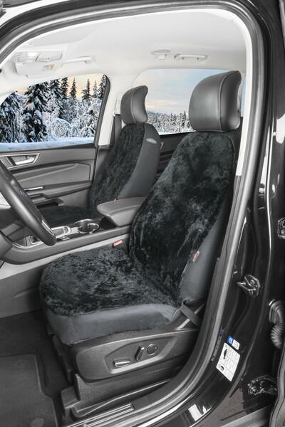 Autositzbezug Adelynn aus Lammfell schwarz