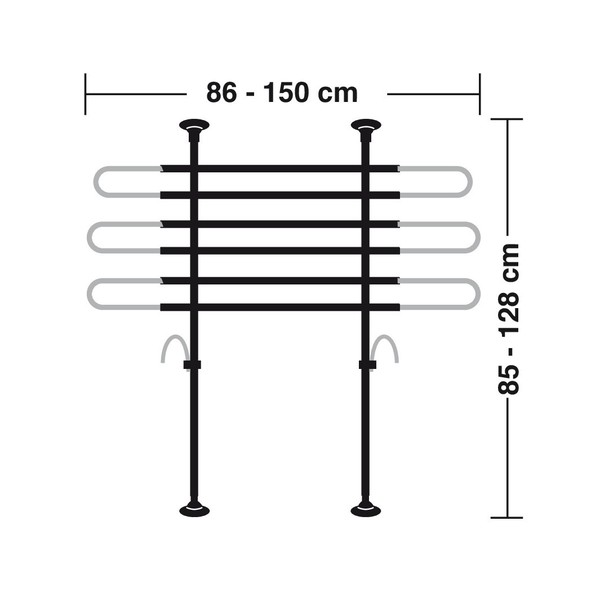 Hundegitter fürs Auto Höhe: 85-128 cm schwarz/silber