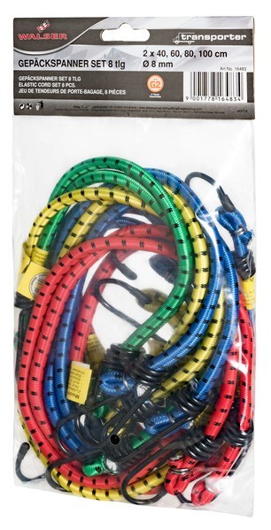 Gepäckspanner 8-teilig mit Sicherheitshaken verschiedene Farben