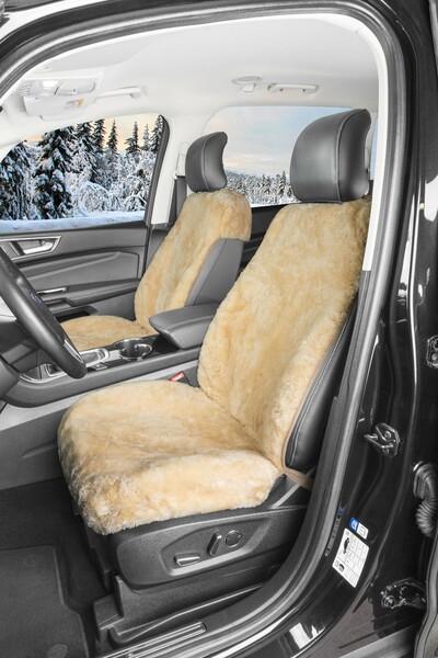 Autositzbezug Tiauna Doppelkappenfell aus Lammfell beige mit ZIPP IT System