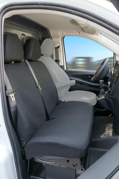 Passform Sitzbezüge für Mercedes-Benz Vito 447 Doppelbank vorne aus Polyester ab Baujahr 06/2014 - heute
