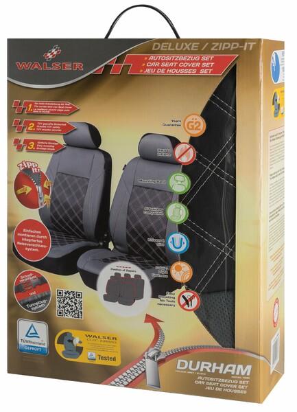 ZIPP IT Deluxe Durham Auto Sitzbezüge aus Kunstleder für Vordersitze mit Reissverschluss System