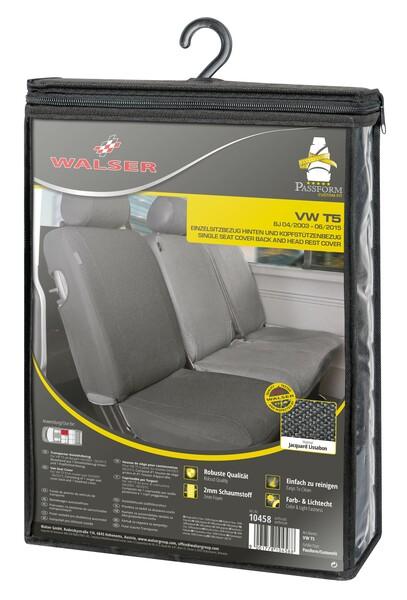 Sitzbezüge für VW T5 Einzelsitz hinten aus strapazierfähigem Polyester passend ab Baujahr 04/2003 - 06/2015