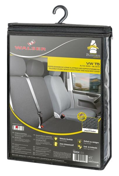 Sitzbezüge für VW T5 Doppelbank vorne aus strapazierfähigem Polyester umlegbar ab Baujahr 09/2009 - heute