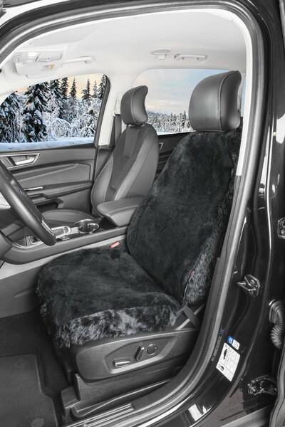Autositzbezug Nineve aus Lammfell schwarz mit ZIPP IT System
