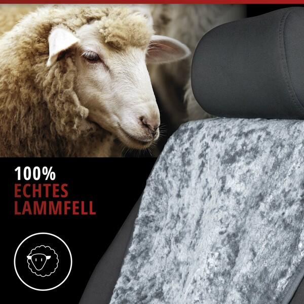 Sitzaufleger aus Lammfell Vogue grau 16-18mm Fellhöhe