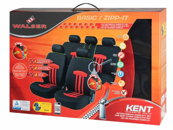 ZIPP-IT Basic Kent rot Auto Sitzbezüge mit Reissverschluss System