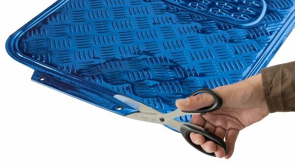 Auto Gummimatten Metallic Riffelblech look blau maxi