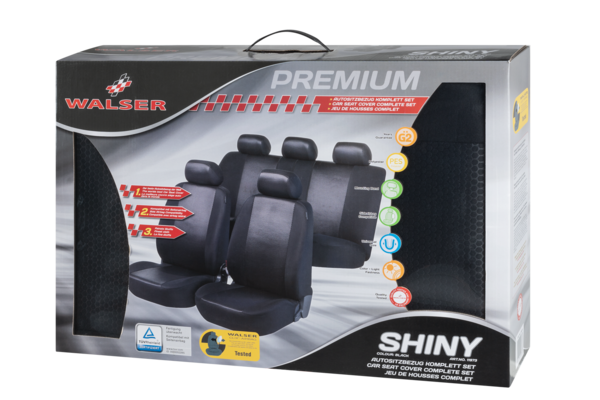Autositzbezug Shiny schwarz Premium Set