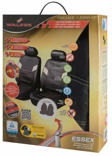 ZIPP IT Deluxe Essex Auto Sitzbezüge aus Kunstleder für Vordersitze mit Reissverschluss System