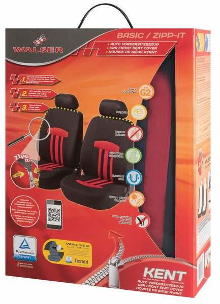 ZIPP-IT Basic Kent rot Auto Sitzbezüge für Vordersitze mit Reissverschluss System