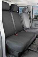 Sitzbezüge für VW T6 Doppelbank vorne umlegbar aus Polyester für Baujahr 07/2015 - heute