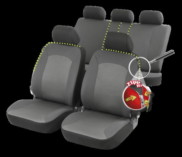 ZIPP IT Premium Manhay Auto Sitzbezüge Komplett Set mit Reissverschluss System
