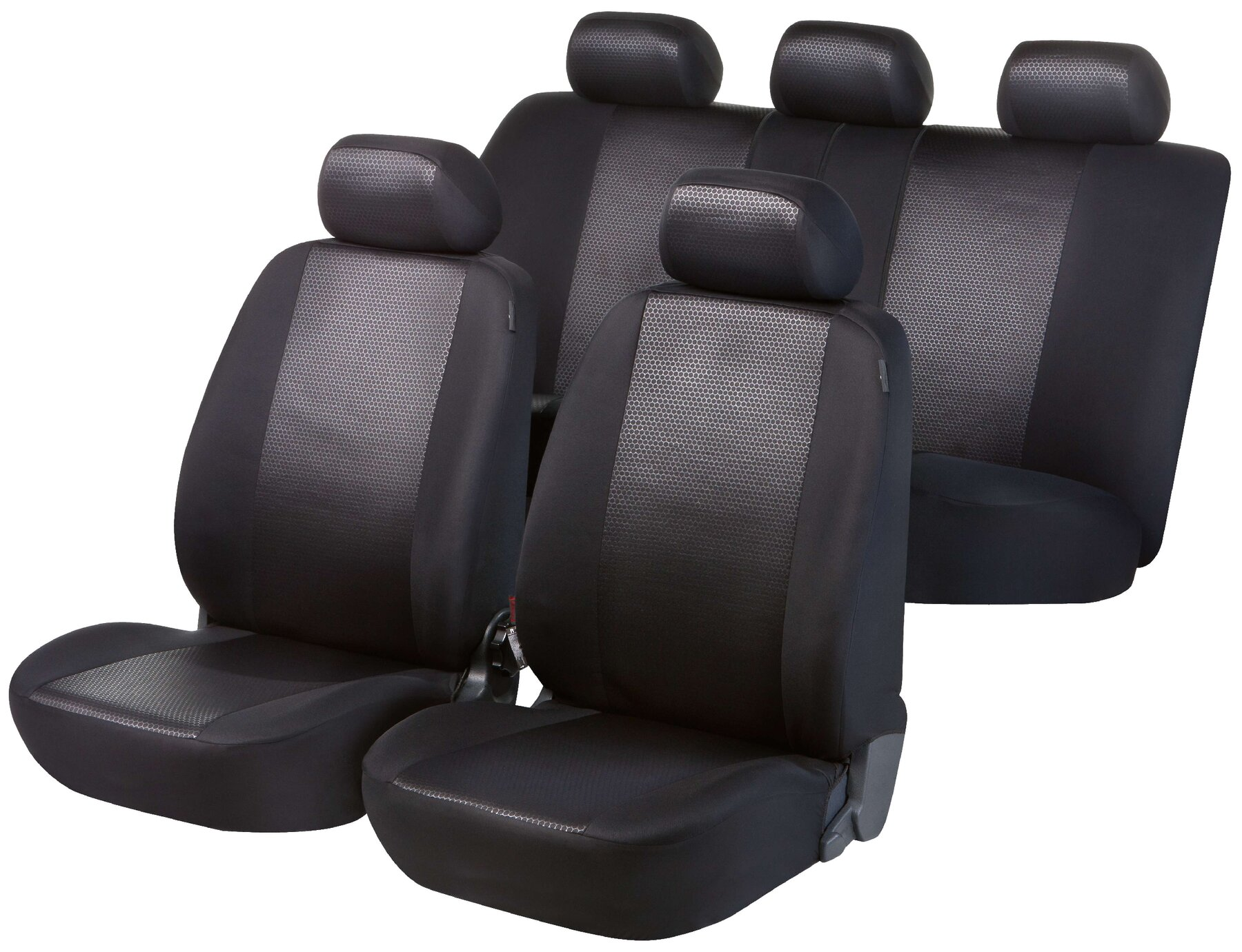 Walser Shiny Premium Airbag Tested Car Seat Covers Front Rear Protectors Black