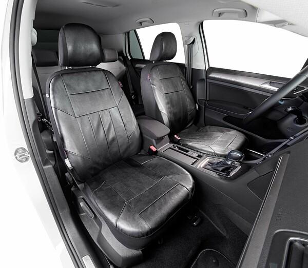 Autositzbezug Kunstleder Soft Nappa schwarz für Vordersitze