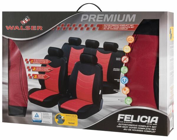 Schonbezüge Felicias rot mit Prägung