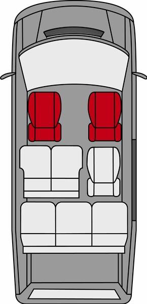 2 Sitzbezüge für Mercedes-Benz Viano W638 + W639 aus Polyester inkl. Armlehne innen Bj. 06/2003 - 05/2014