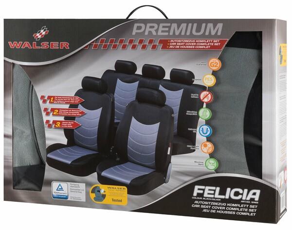 Sitzbezüge Felicias silber mit Prägung