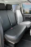 Sitzbezüge für VW T6 Doppelbank vorne aus Kunstleder umlegbar für Baujahr 07/2015 - heute