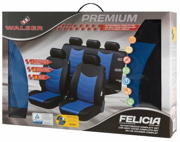 Autositzbezug Felicias blau mit Prägung